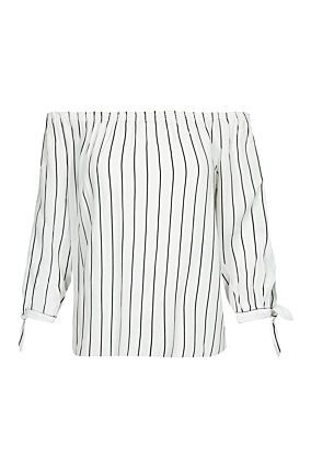 White Striped Off Shoulders Blouse