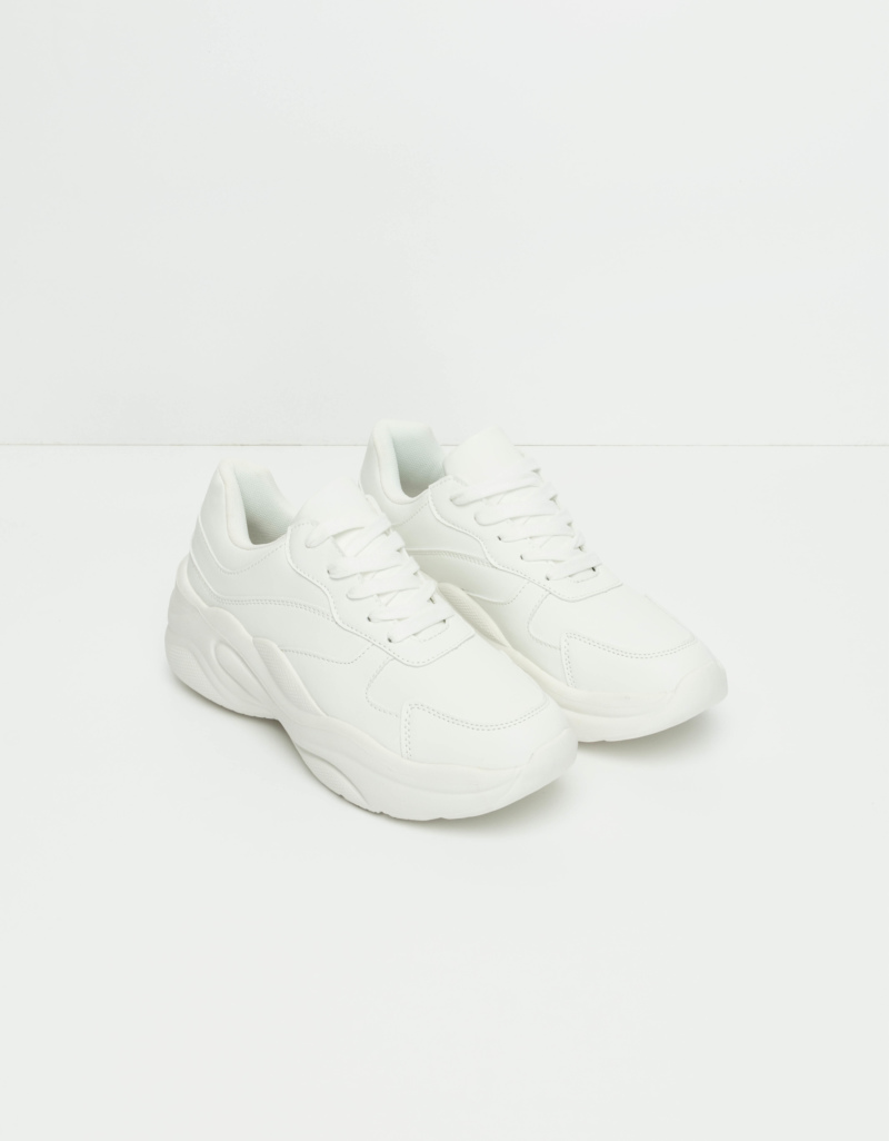 save off 59202 bce44 Weiße Sneakers mit dicker Sohle