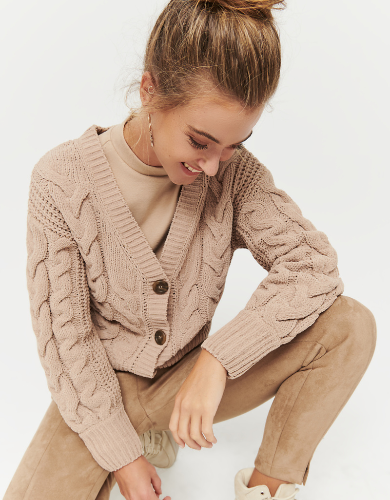 Beige Cable Knit Cardigan by Tally W Ei Jl