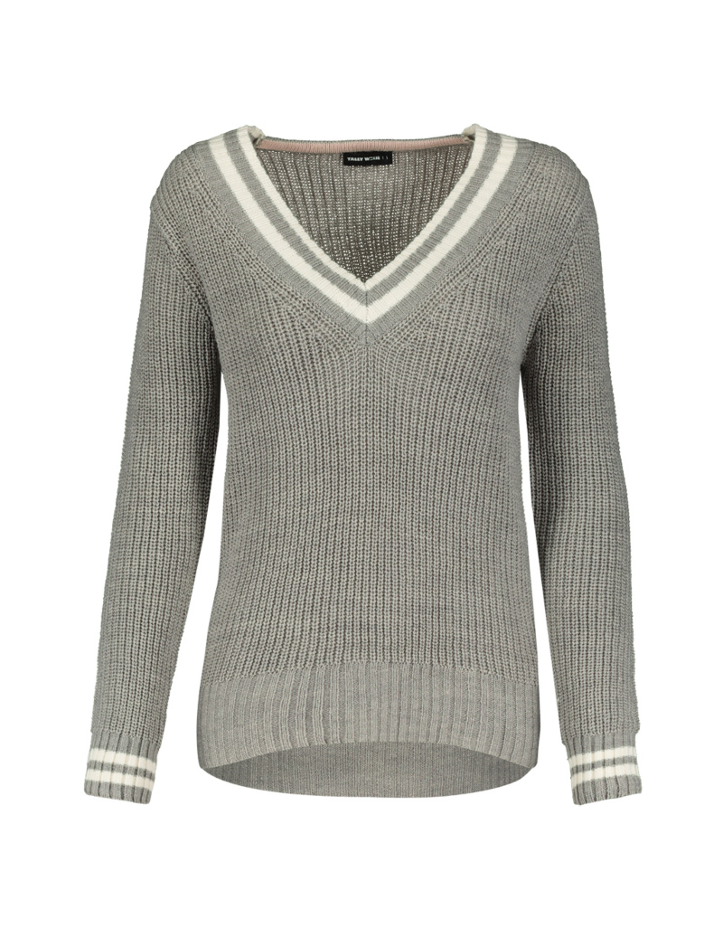 competitive price 12681 a10a1 Grau-weißer Pullover