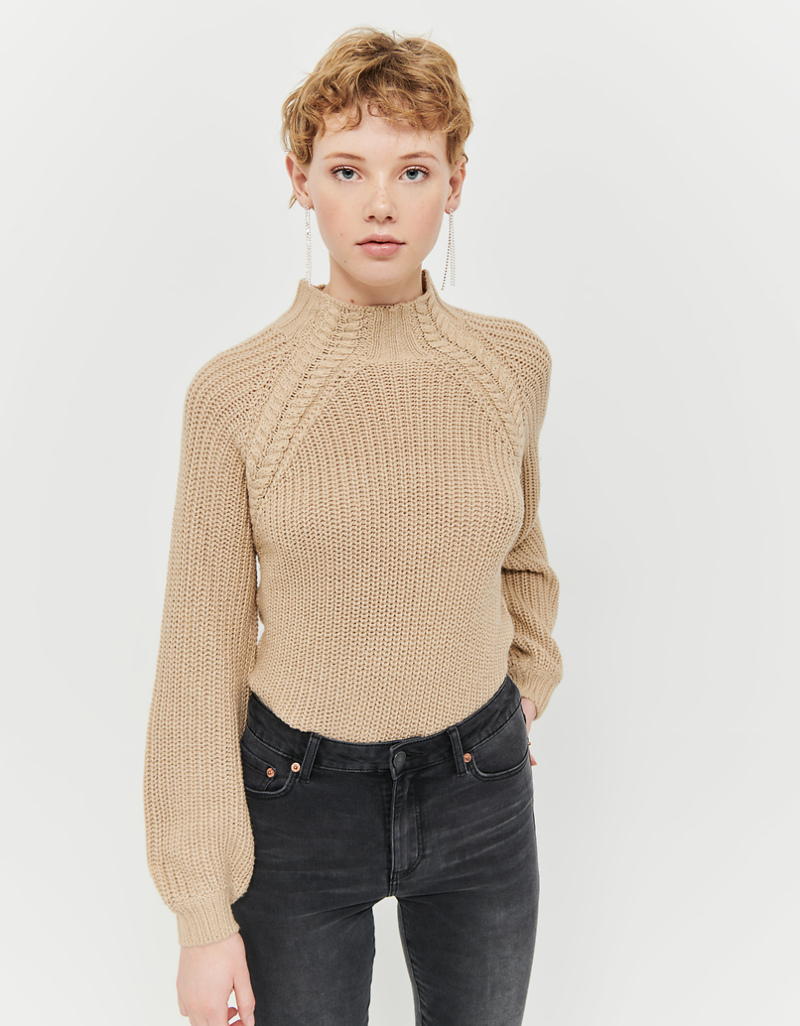 Beige Jumper With Mock Neck by Tally W Ei Jl