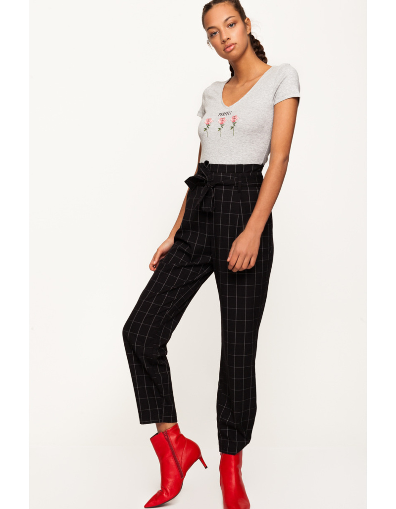 b00766b13412f1 Black Check Trousers | TALLY WEiJL Online Shop