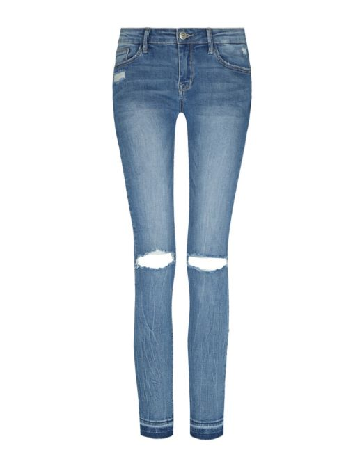 Low Waist Washed Destoyed Jeans