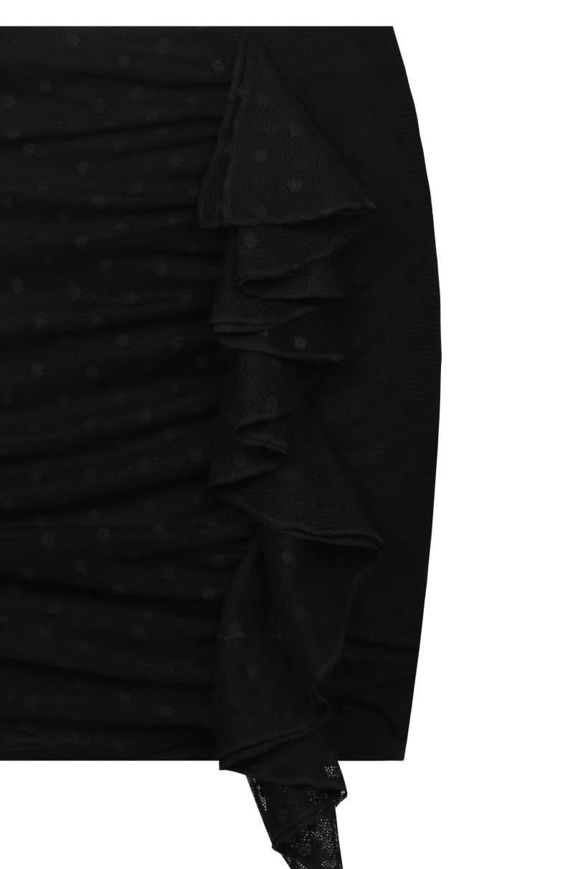 Black Mini Skirt with Mesh Overlayer