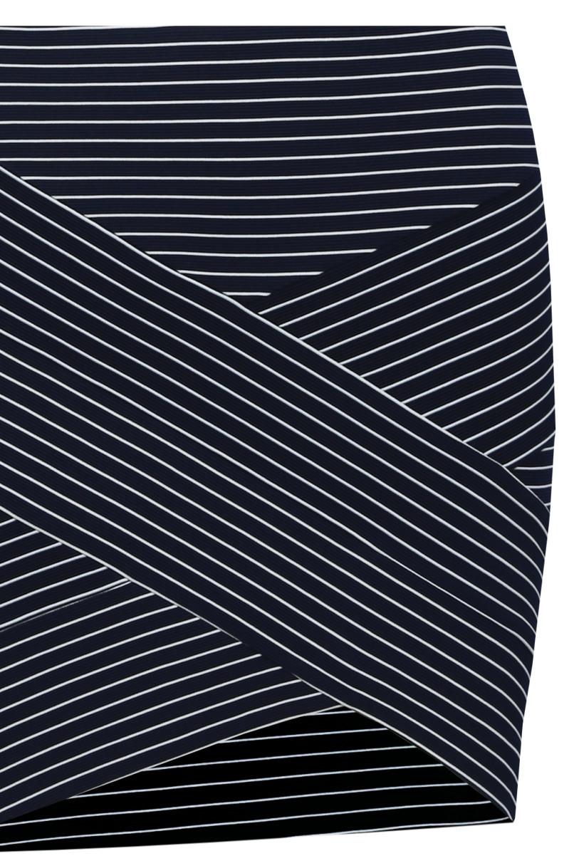 Navy Blue Striped Mini Skirt