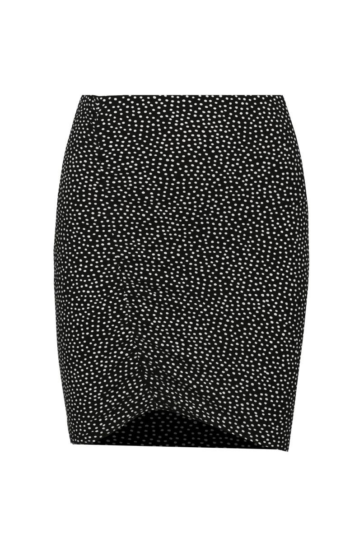 Black Polka Dot Bodycon Skirt