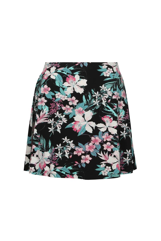 Black Flower Skater Skirt