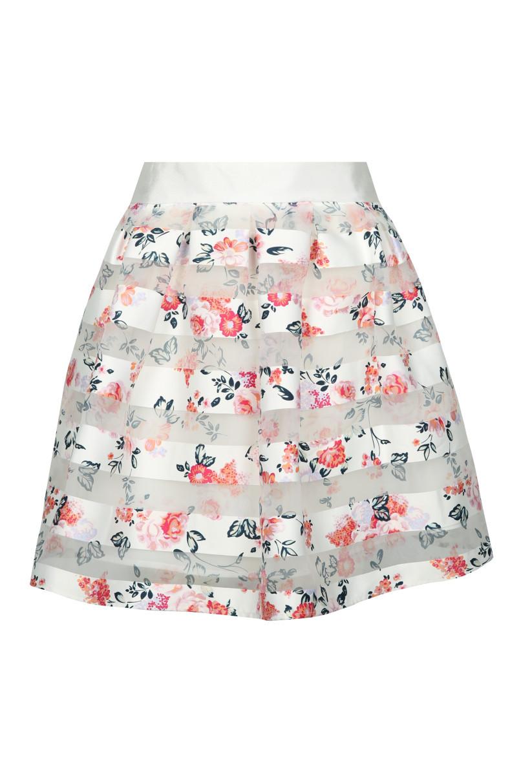 White & Pink Skater Skirt