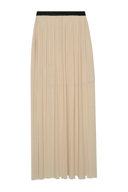 Beige Pleated Maxi Skirt