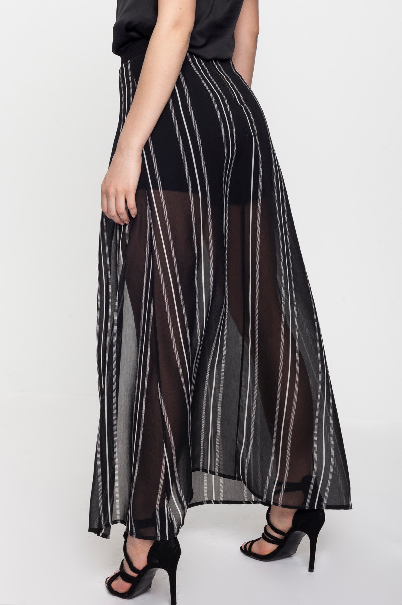 Black Striped Skirt with Shorts