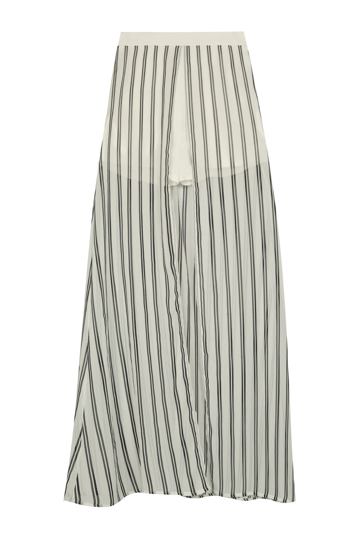 Cream Striped Maxi Skirt